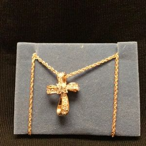 Avon vintage gold tone cross necklace